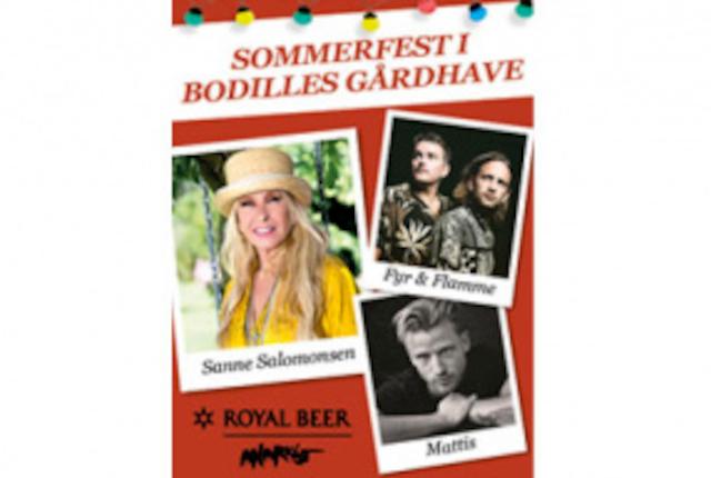 Sommerfest i Bodilles Gårdhave med Sanne Salomonsen, Fyr & Flamme og Mattis
